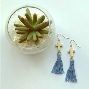 Tassel Earrings Cross Charm Light Blue